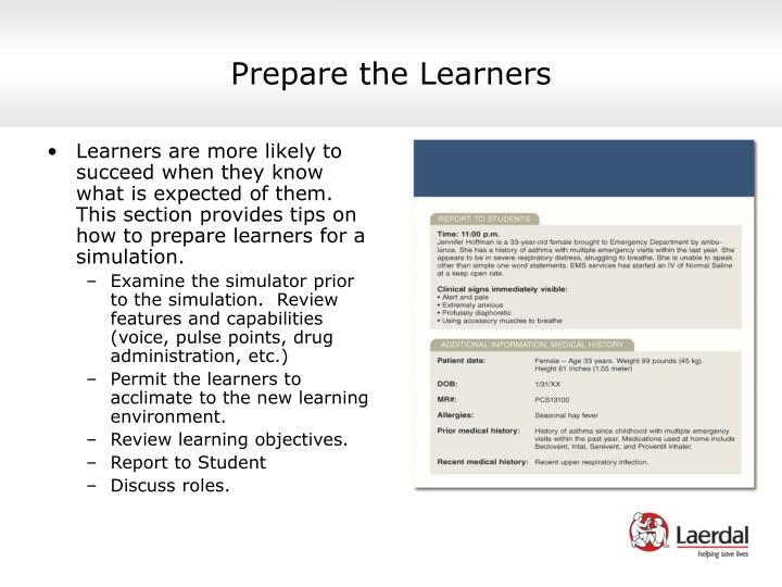 Prepare the Learners