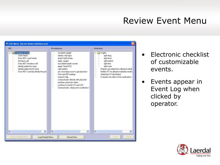 Review Event Menu
