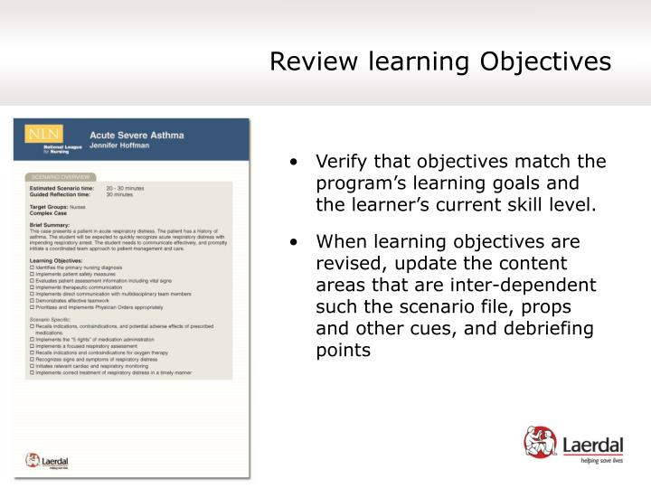 Review learning Objectives