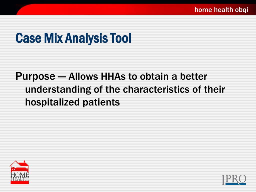 Case Mix Analysis Tool