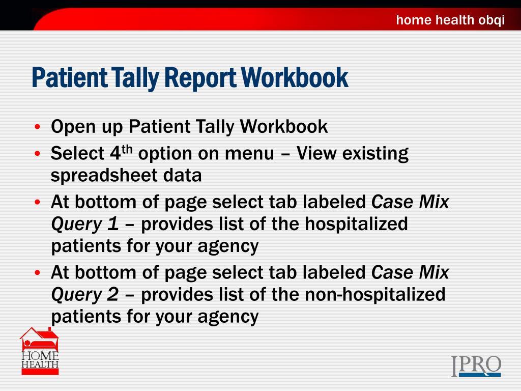 Patient Tally Report Workbook