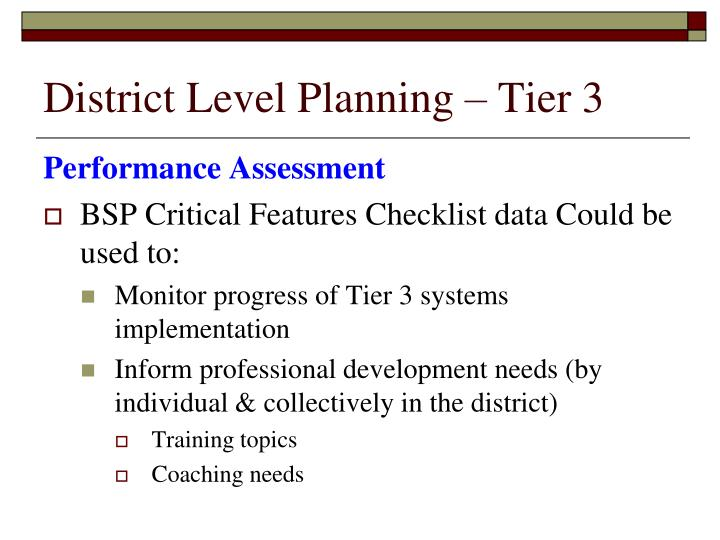 District Level Planning – Tier 3