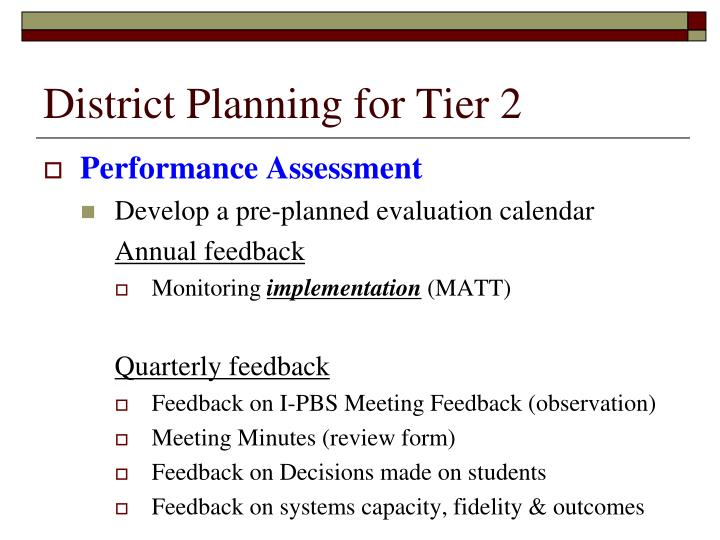 District Planning for Tier 2
