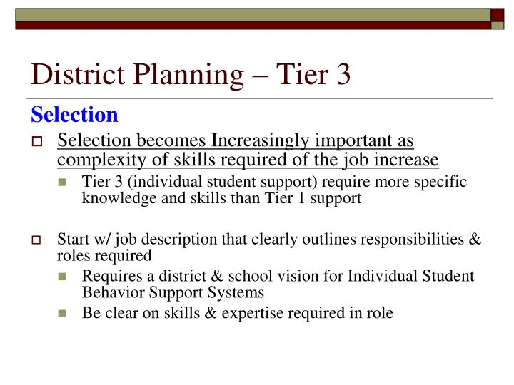 District Planning – Tier 3