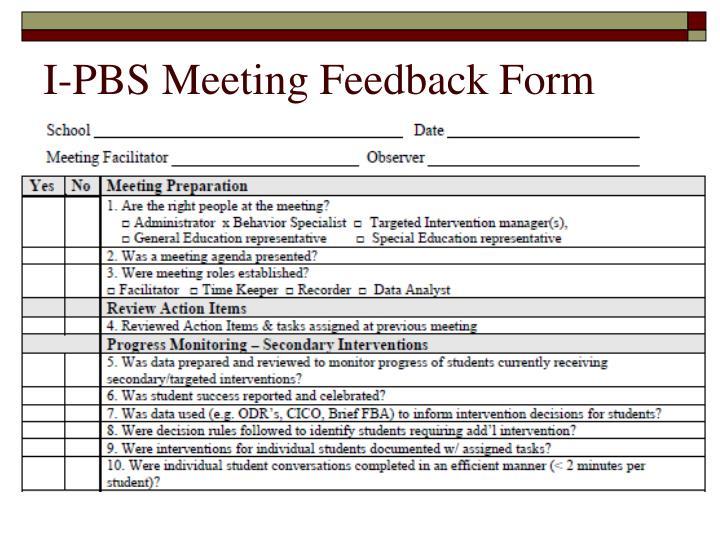 I-PBS Meeting Feedback Form