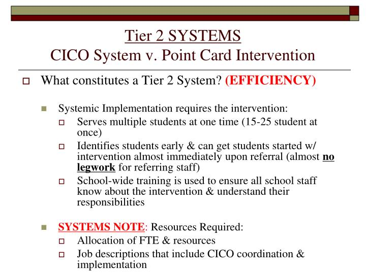 Tier 2 SYSTEMS