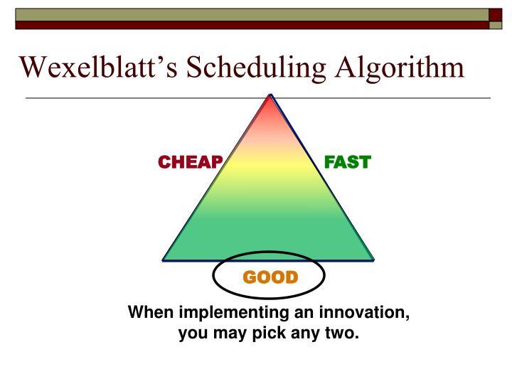 Wexelblatt's Scheduling Algorithm