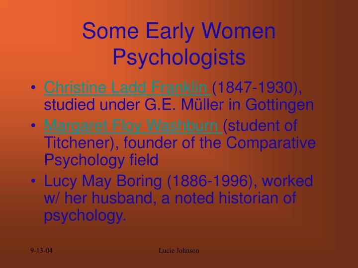 Some Early Women Psychologists