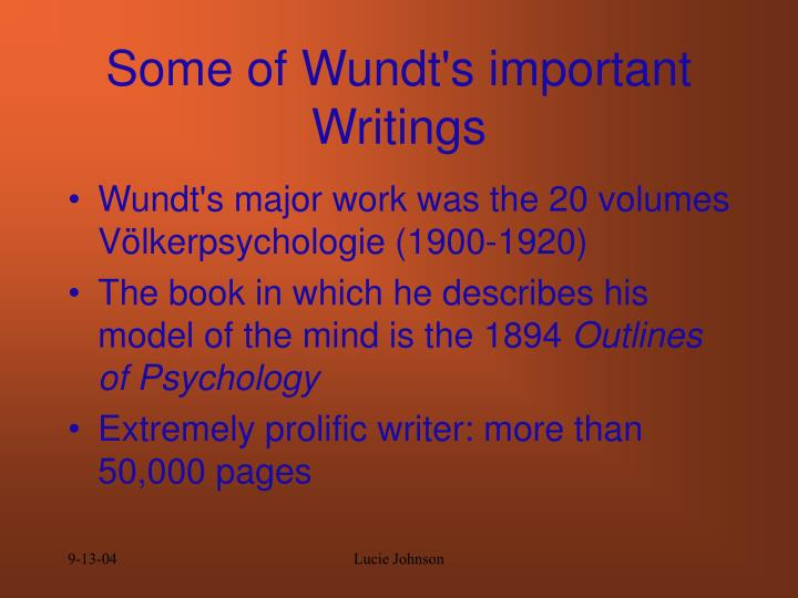 Some of Wundt's important Writings