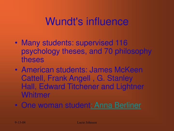 Wundt's influence