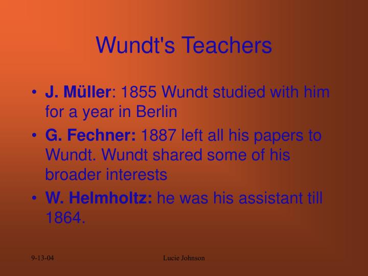 Wundt s teachers