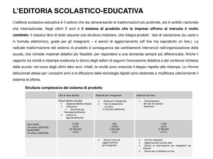 L'EDITORIA SCOLASTICO-EDUCATIVA