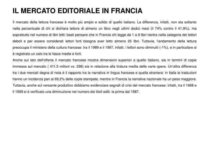 IL MERCATO EDITORIALE IN FRANCIA