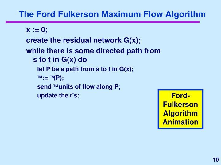 The Ford Fulkerson Maximum Flow Algorithm