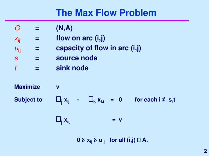 The Max Flow Problem