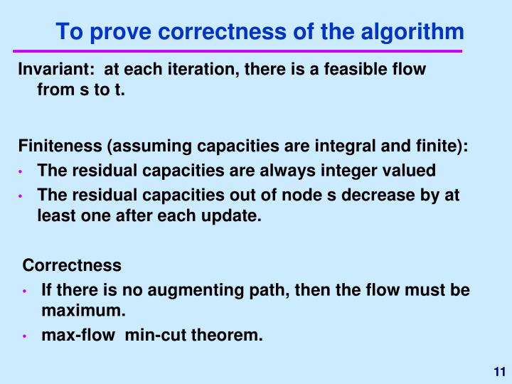 To prove correctness of the algorithm