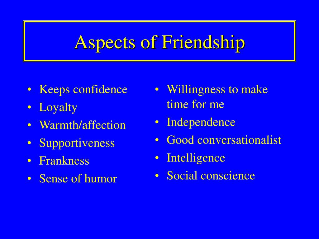 Aspects of Friendship
