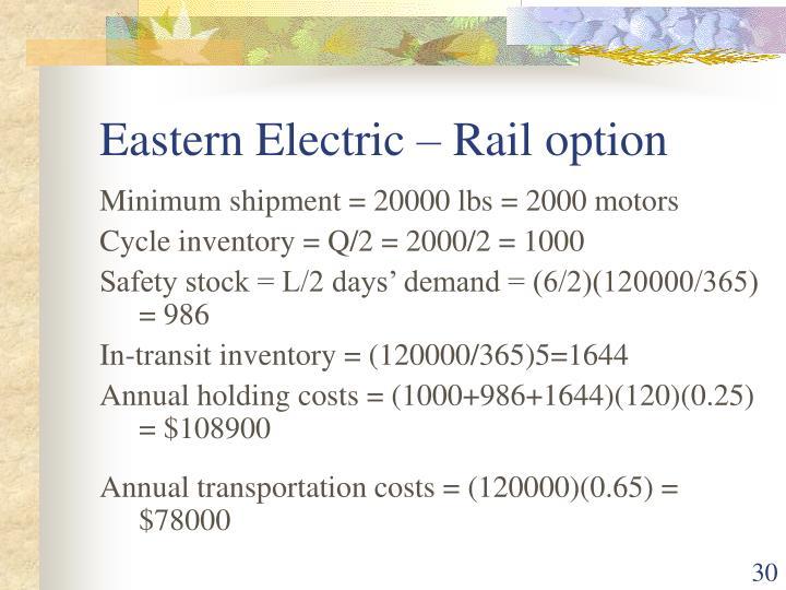 Eastern Electric – Rail option