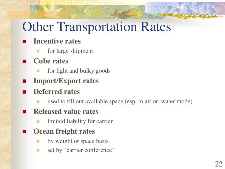 Other Transportation Rates