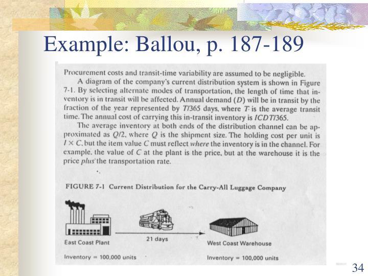 Example: Ballou, p. 187-189