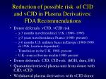 reduction of possible risk of cjd and vcjd in plasma derivatives fda recommendations