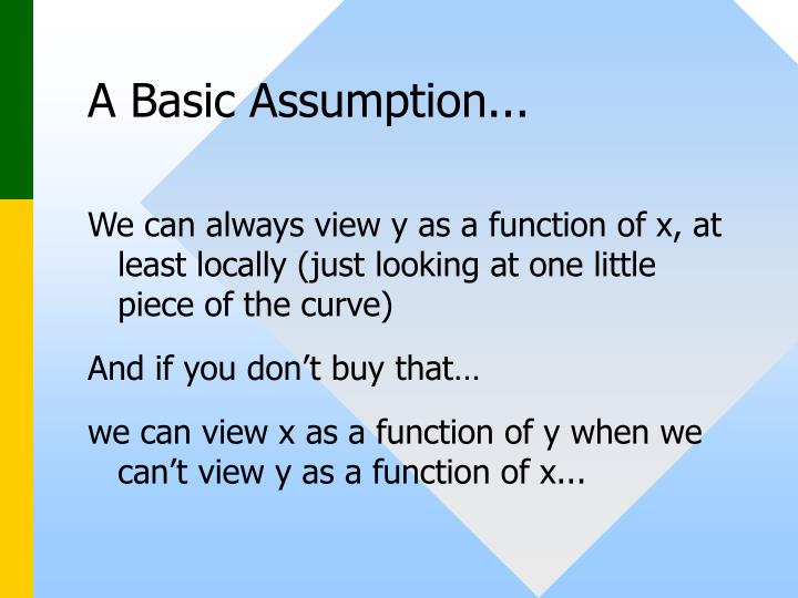A Basic Assumption...