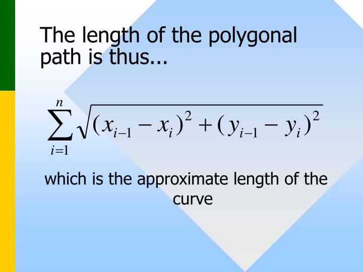 The length of the polygonal path is thus...