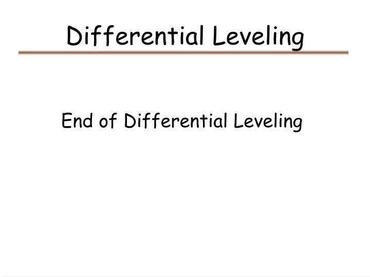 Differential Leveling