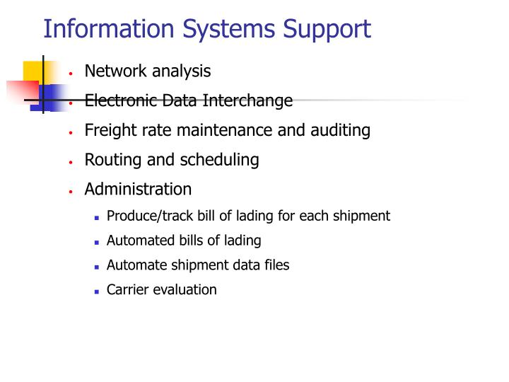 Information Systems Support