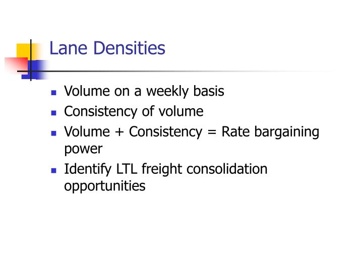 Lane Densities