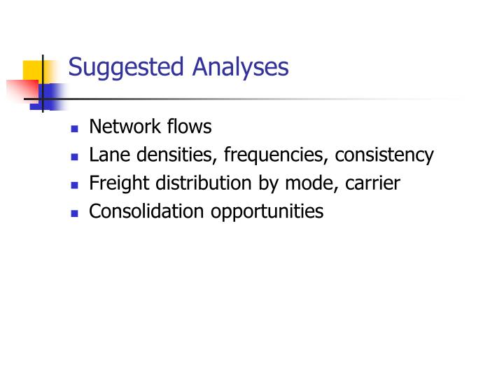 Suggested Analyses