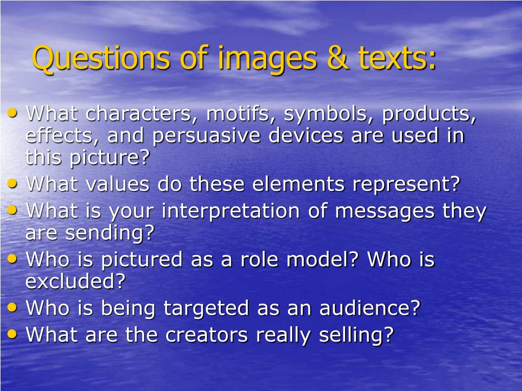 Questions of images & texts: