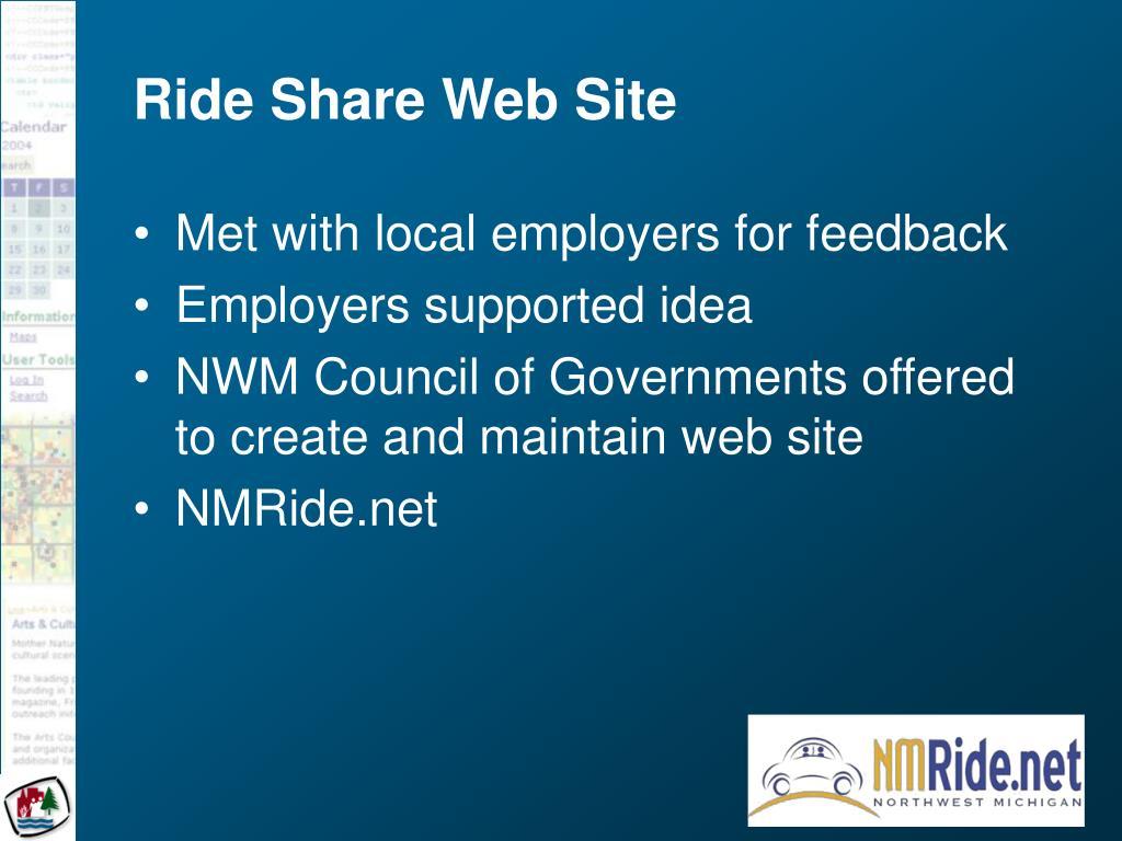Ride Share Web Site