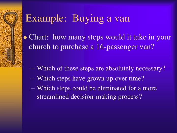 Example:  Buying a van