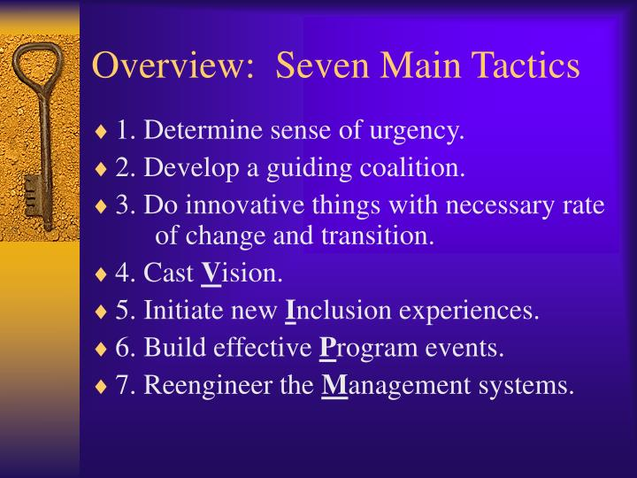 Overview seven main tactics