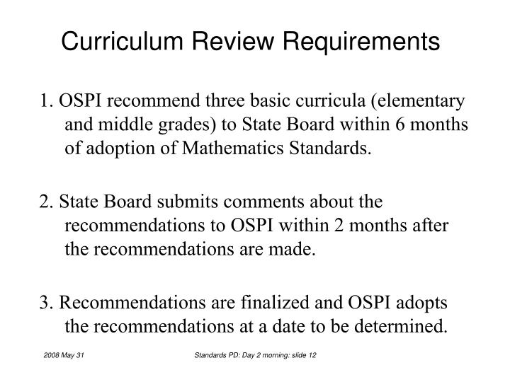 Curriculum Review Requirements
