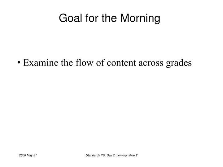 Goal for the Morning