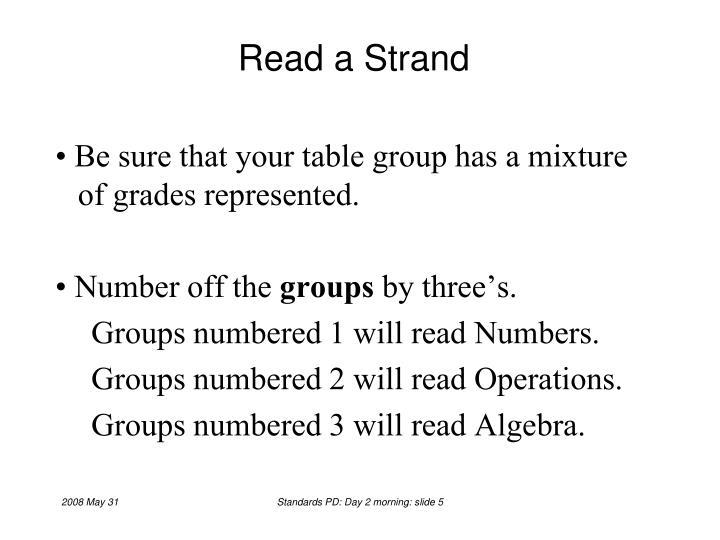 Read a Strand