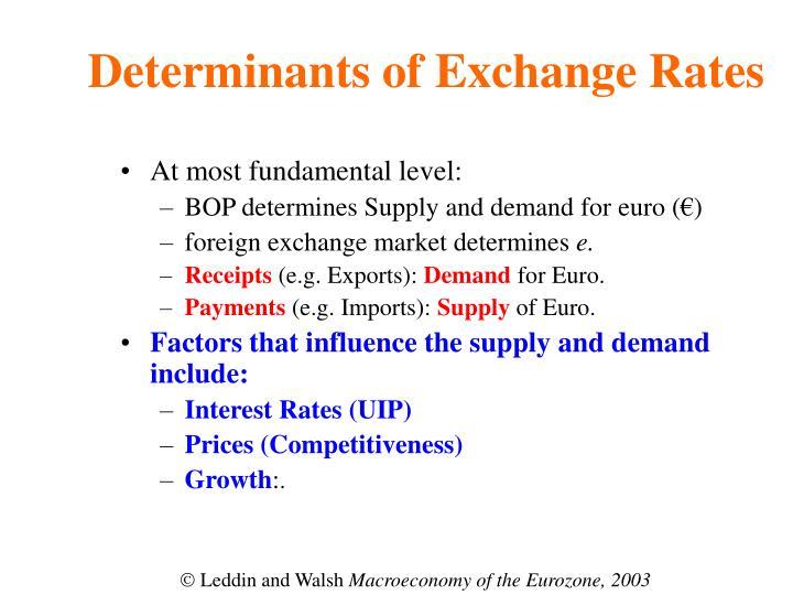 Determinants of Exchange Rates