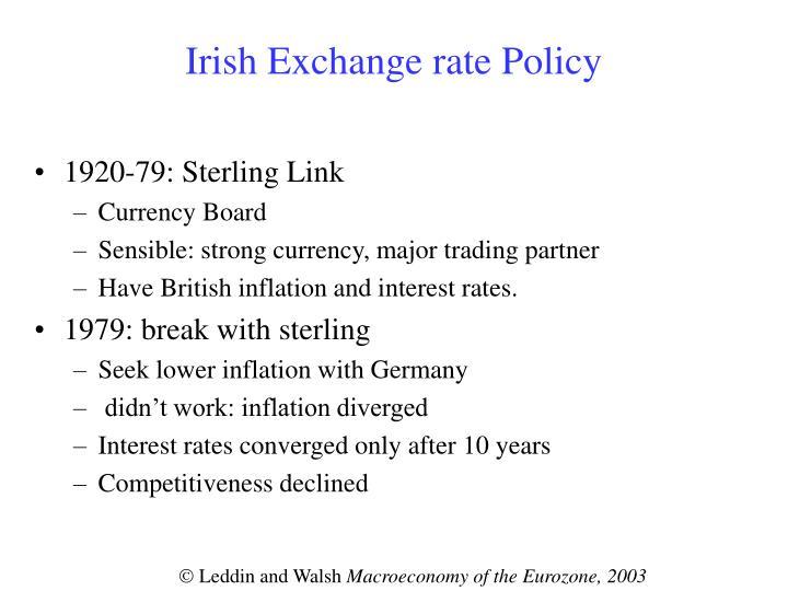 Irish Exchange rate Policy