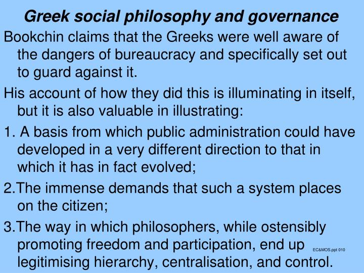 Greek social philosophy and governance
