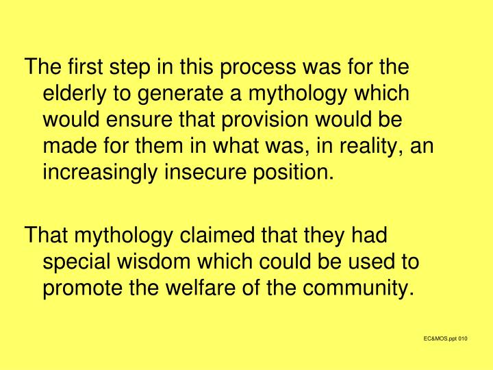 The first step in this process was for the elderly to generate a mythology which would ensure that provision would be made for them in what was, in reality, an increasingly insecure position.