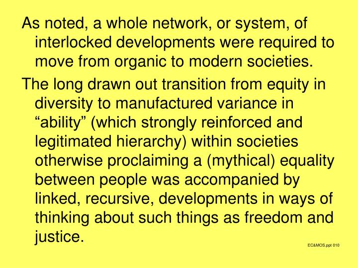 As noted, a whole network, or system, of interlocked developments were required to move from organic to modern societies.