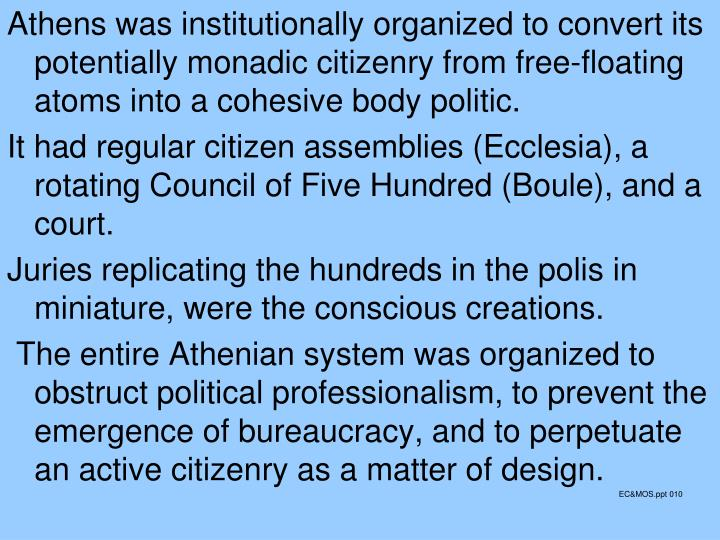 Athens was institutionally organized to convert its potentially monadic citizenry from free-floating atoms into a cohesive body politic.
