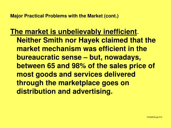 Major Practical Problems with the Market (cont.)