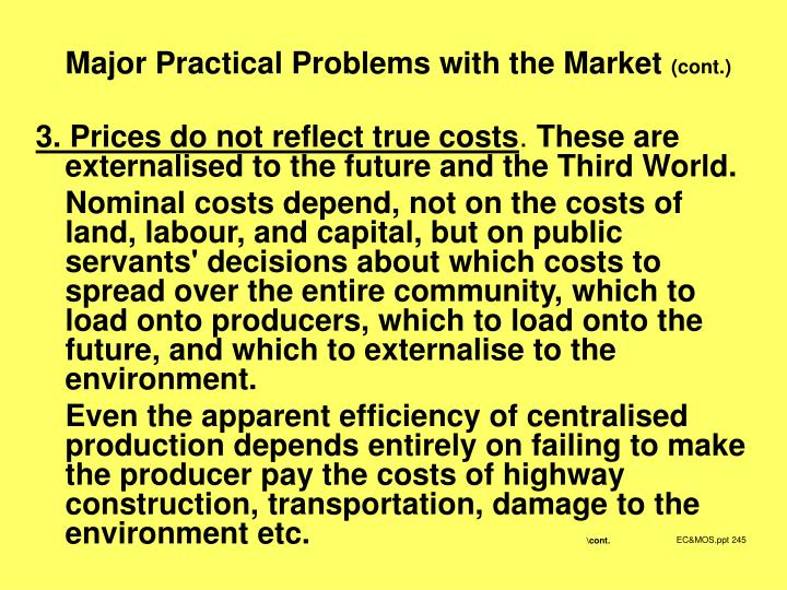Major Practical Problems with the Market
