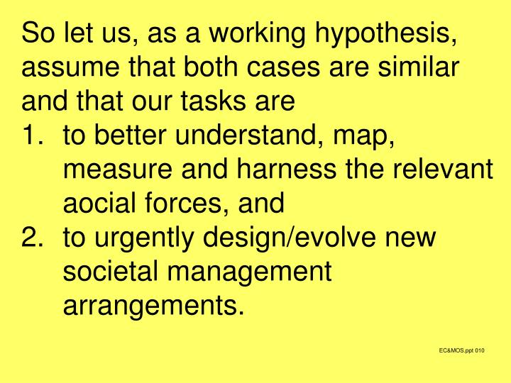 So let us, as a working hypothesis, assume that both cases are similar and that our tasks are