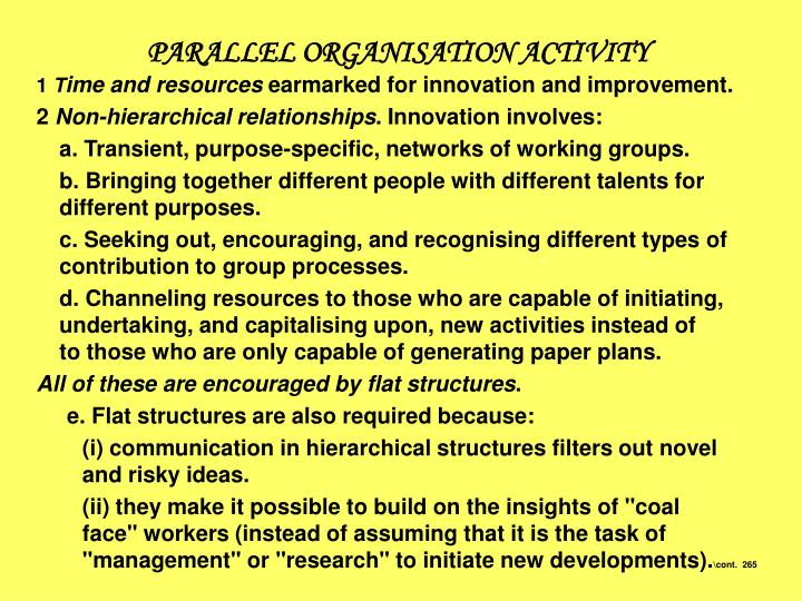 PARALLEL ORGANISATION ACTIVITY