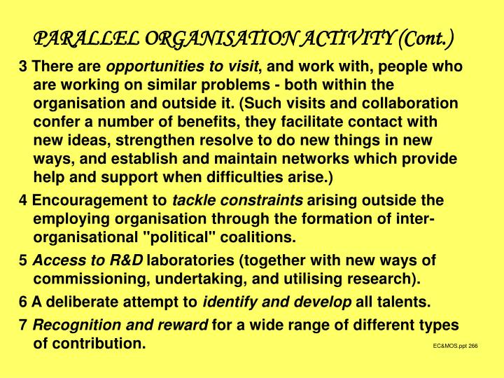 PARALLEL ORGANISATION ACTIVITY (Cont.)