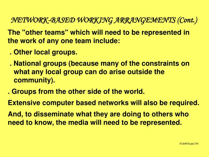 NETWORK-BASED WORKING ARRANGEMENTS (Cont.)